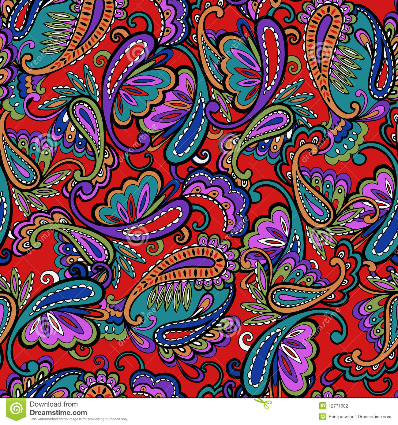 Ornate Paisley Print Stock Illustration Image Of Ditsy