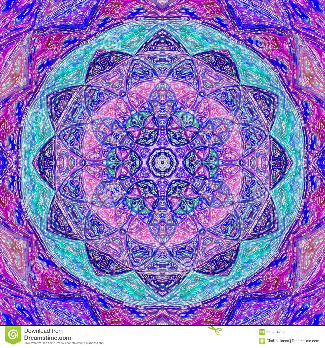 bright ornate pattern with mandala template for textiles shawl