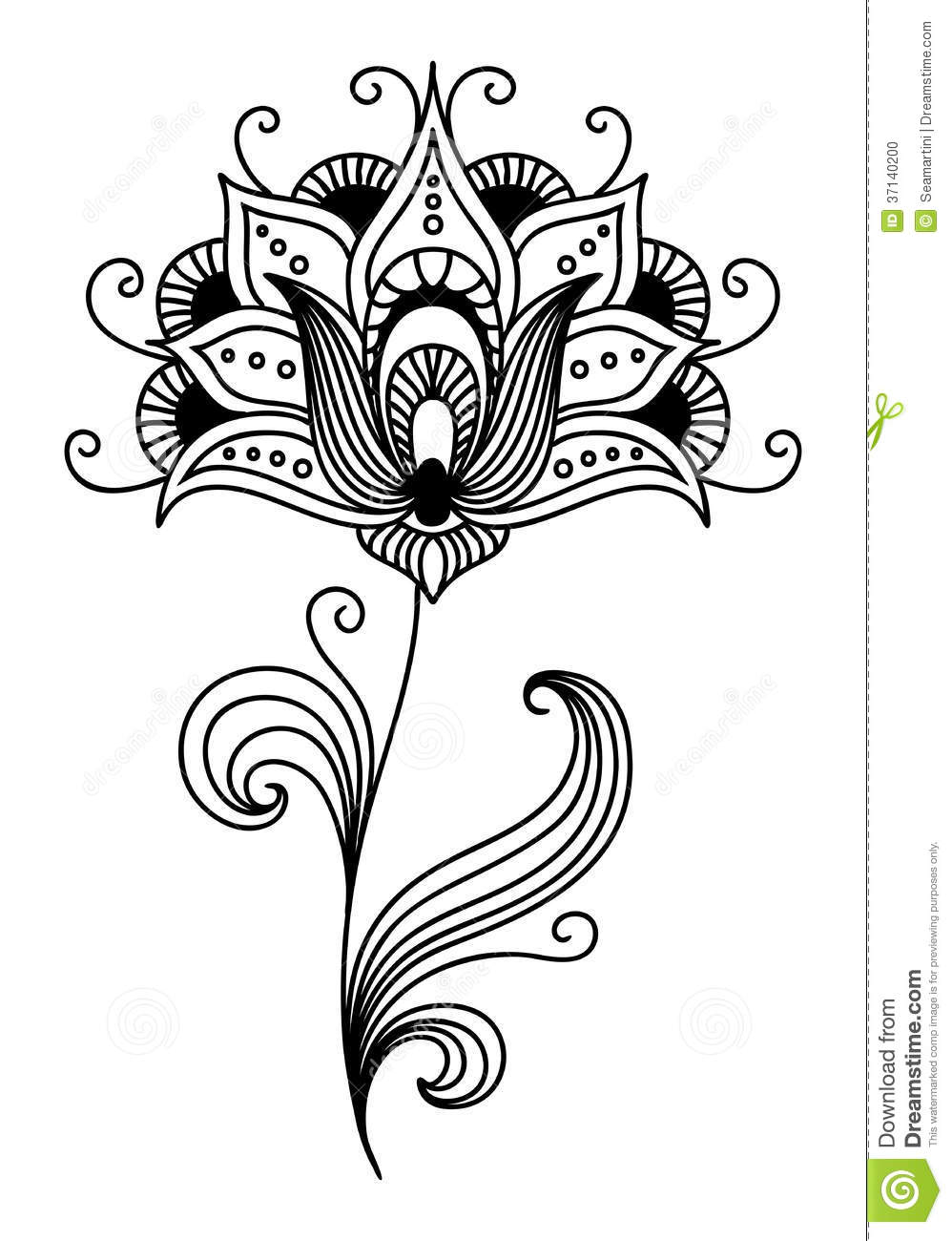 Ornate Persian Floral Design Stock Vector Illustration Of