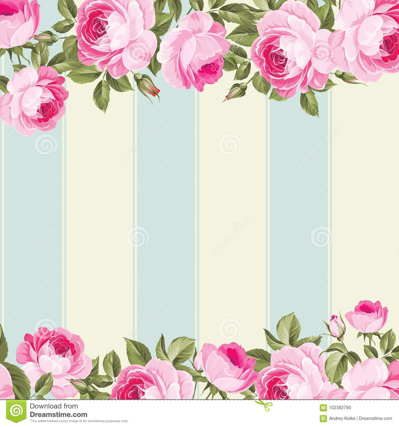 Ornate Pink Flower Border Stock Vector Illustration Of Love
