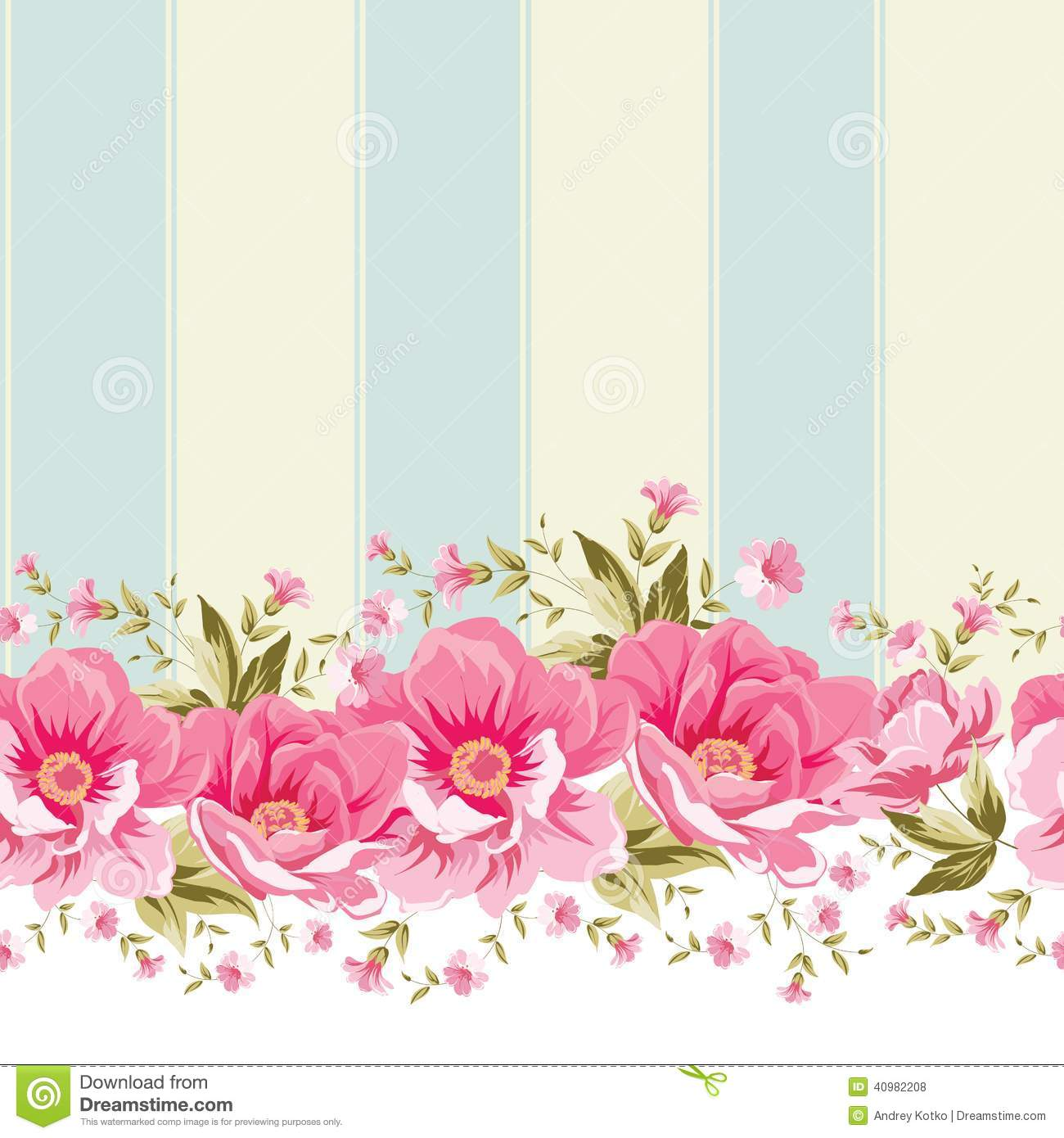Ornate Pink Flower Border With Tile Stock Vector Illustration