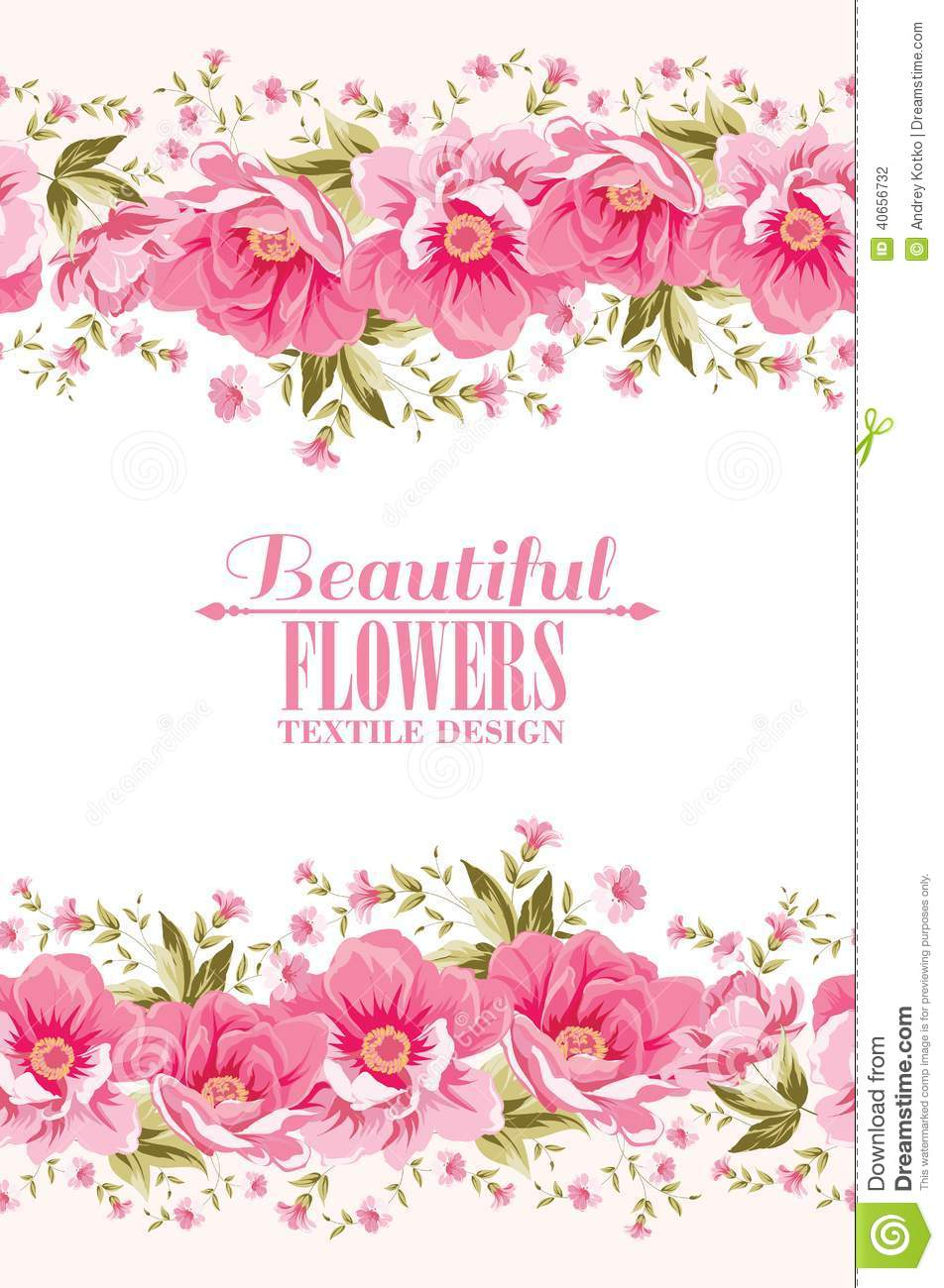 Ornate Pink Flower Decoration With Text Label Stock