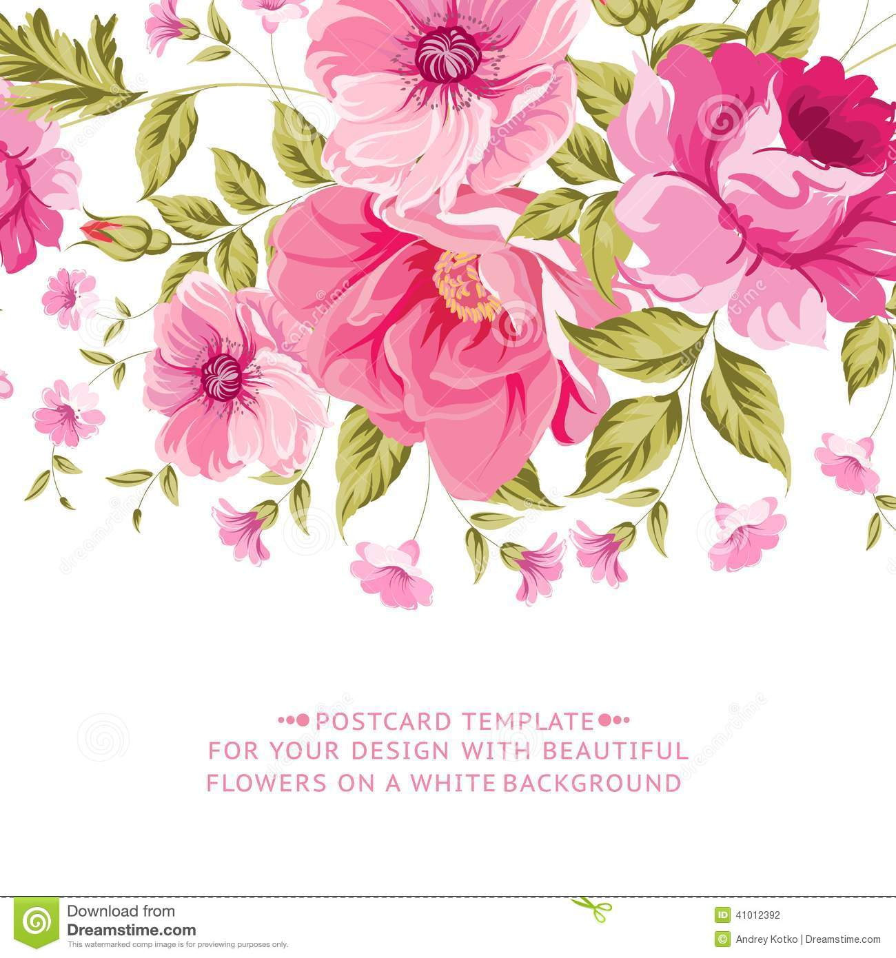Ornate pink flower decoration with text label stock for A text decoration