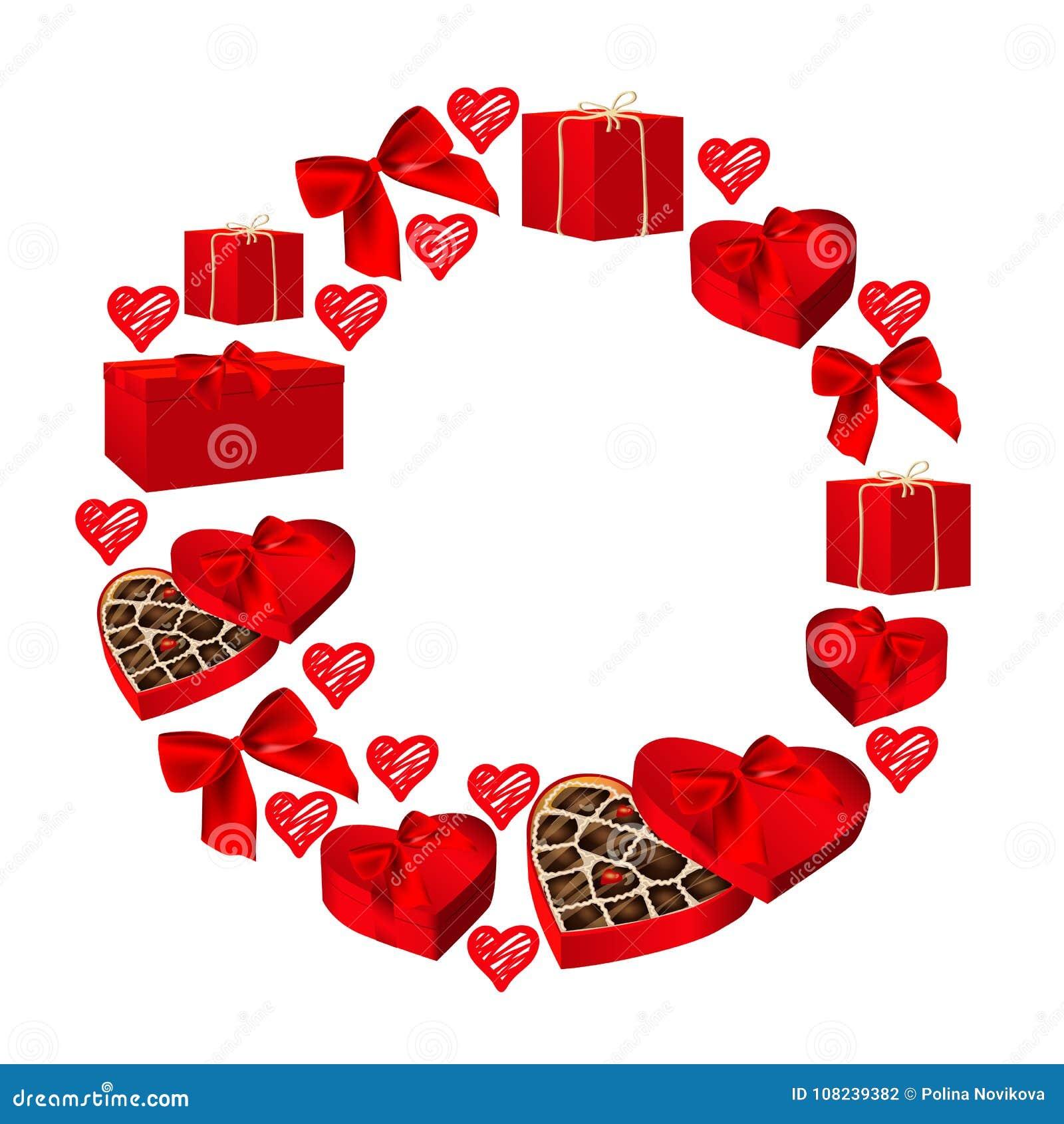 ornate round frame for valentines card design frame from gift boxes