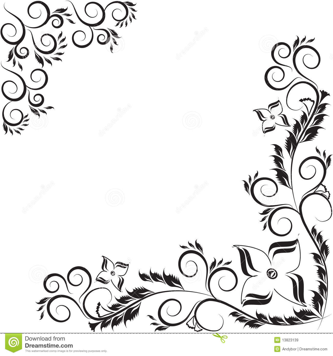 Download Ornate Scroll Floral Design Isolated On White Stock Illustration