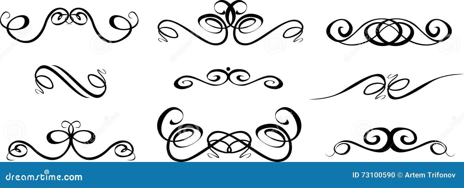 Ornate Set Of Hand Drawn Vintage Frames For Text Decoration In V ...