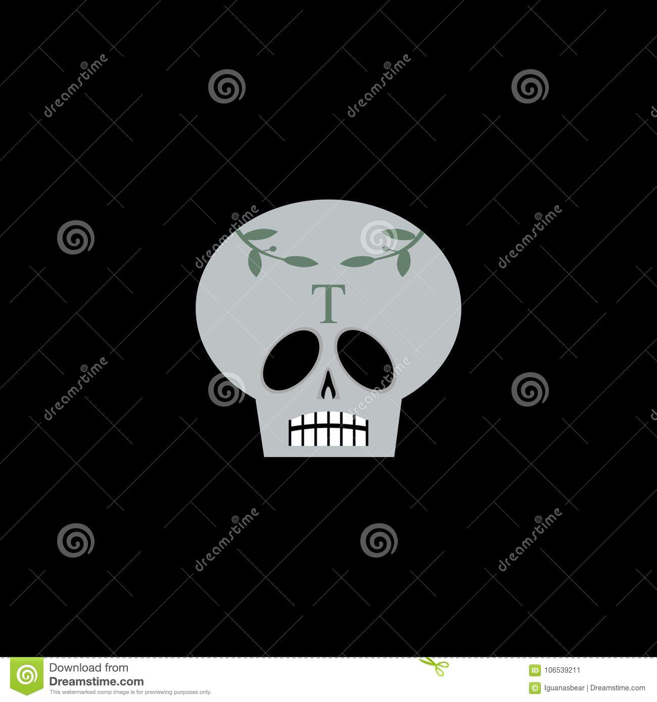 Ornate Skull With Laurel Leaves And Letter T Stock Vector