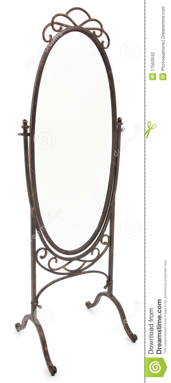 Ornate Standing Mirror Over White Stock Photography