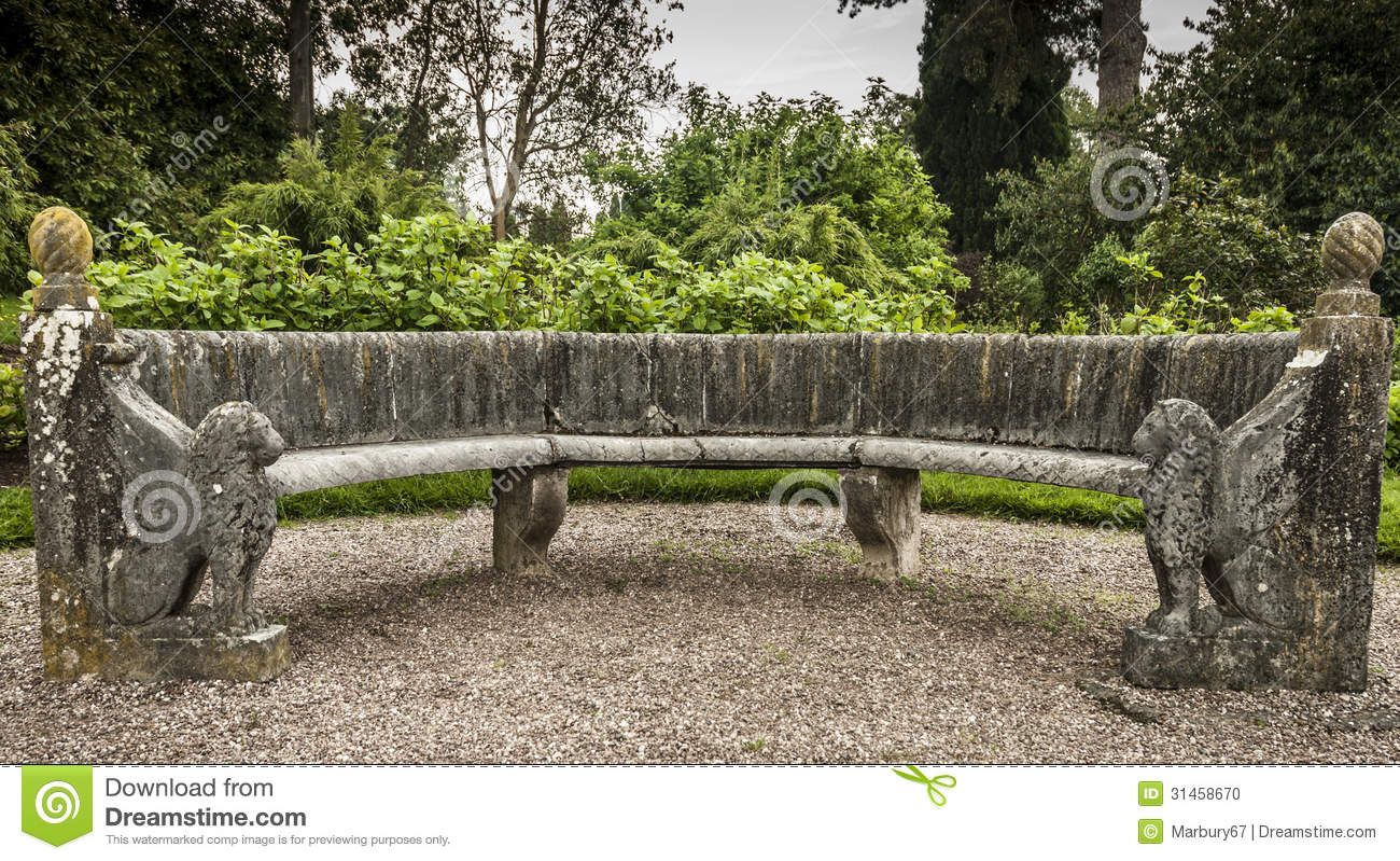 Ornate Stone Seat Stock Photo Image Of Lion Bench