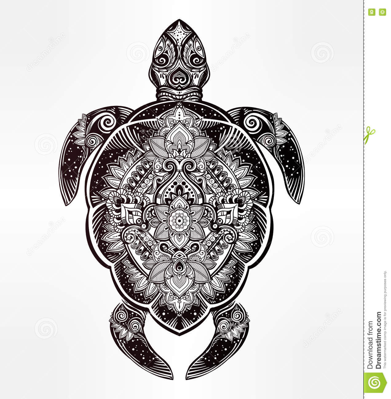 Illustration Tattoos: Ornate Turtle In Tattoo Style. Stock Vector
