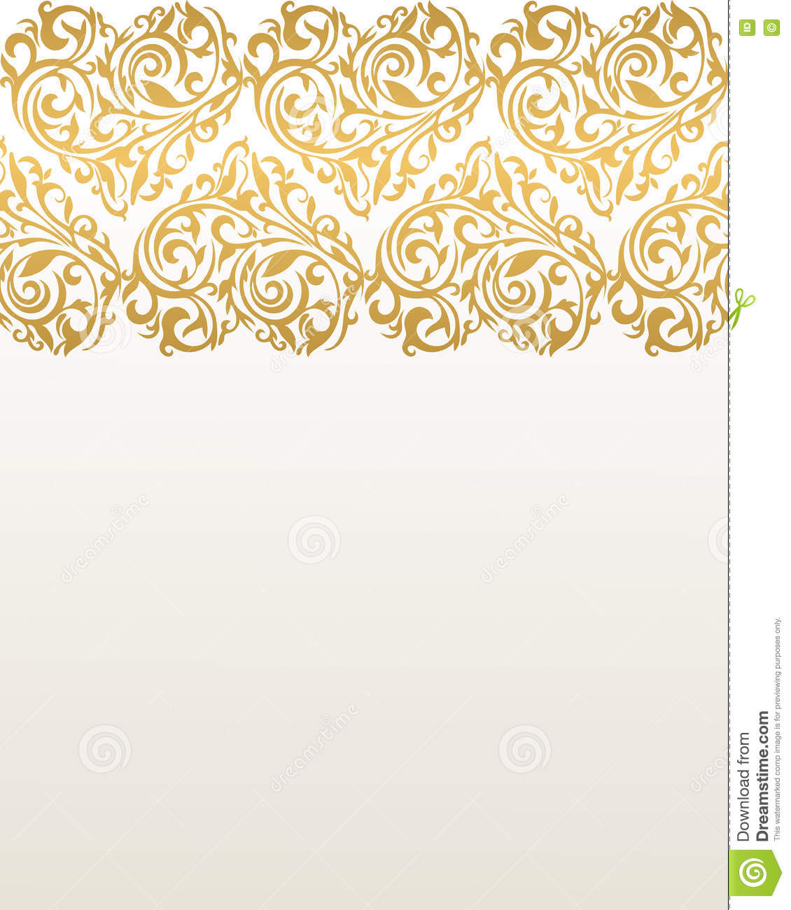 Ornate Vector Border With Hearts Gold Border Border With Heart Stock Vector