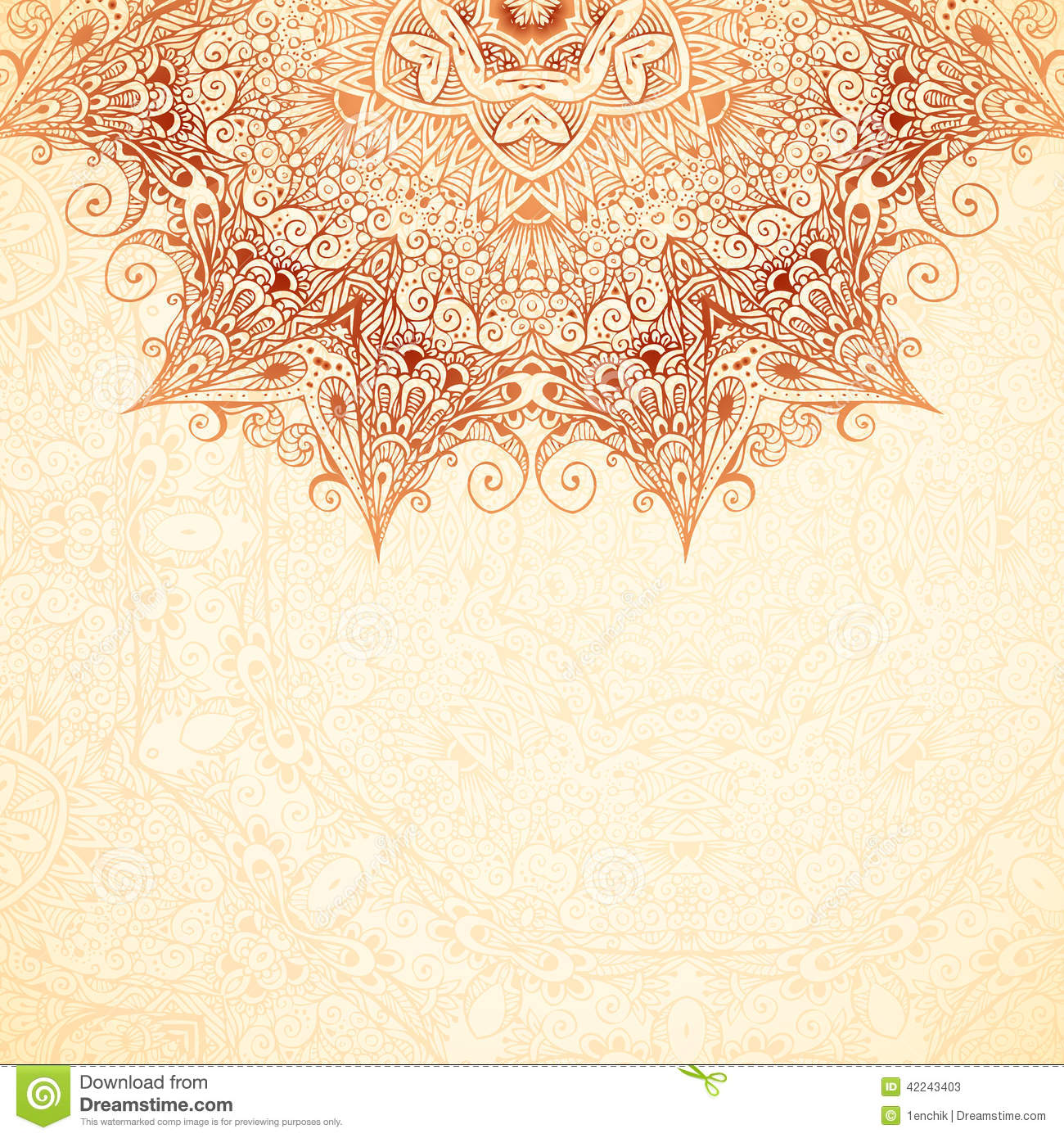 Ornate Vintage Background In Mehndi Style Stock Vector