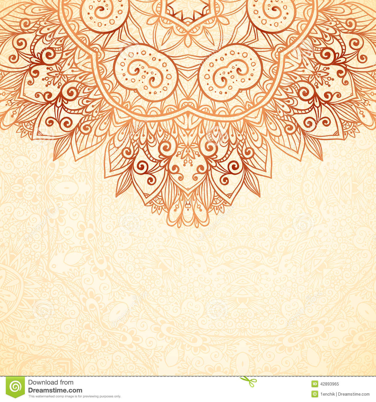 Ornate vintage vector background in mehndi style royalty free stock - Royalty Free Vector Download Ornate Vintage Background In Mehndi Style Stock