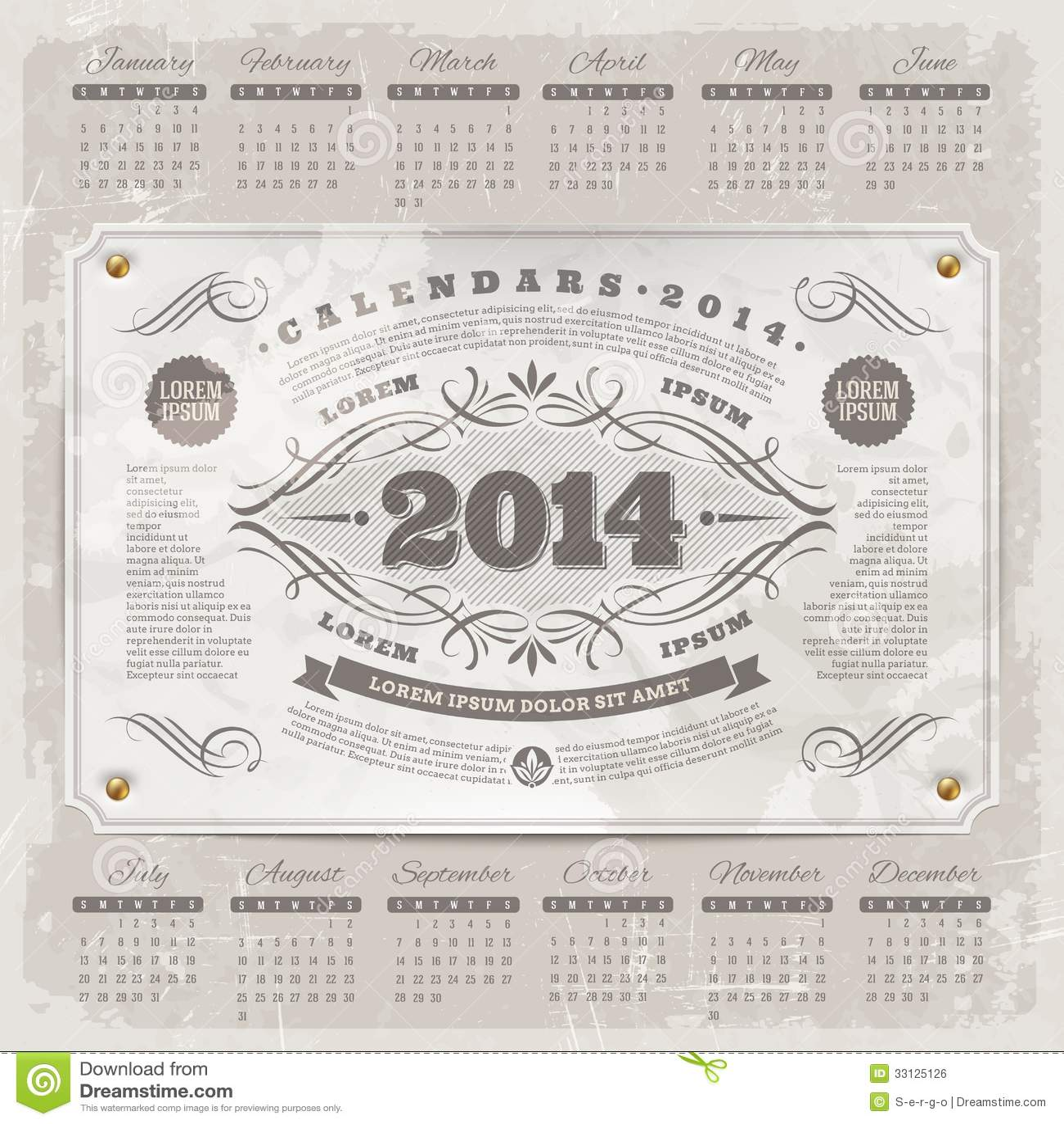 Vintage Calendar Template : Ornate vintage calendar of royalty free stock image