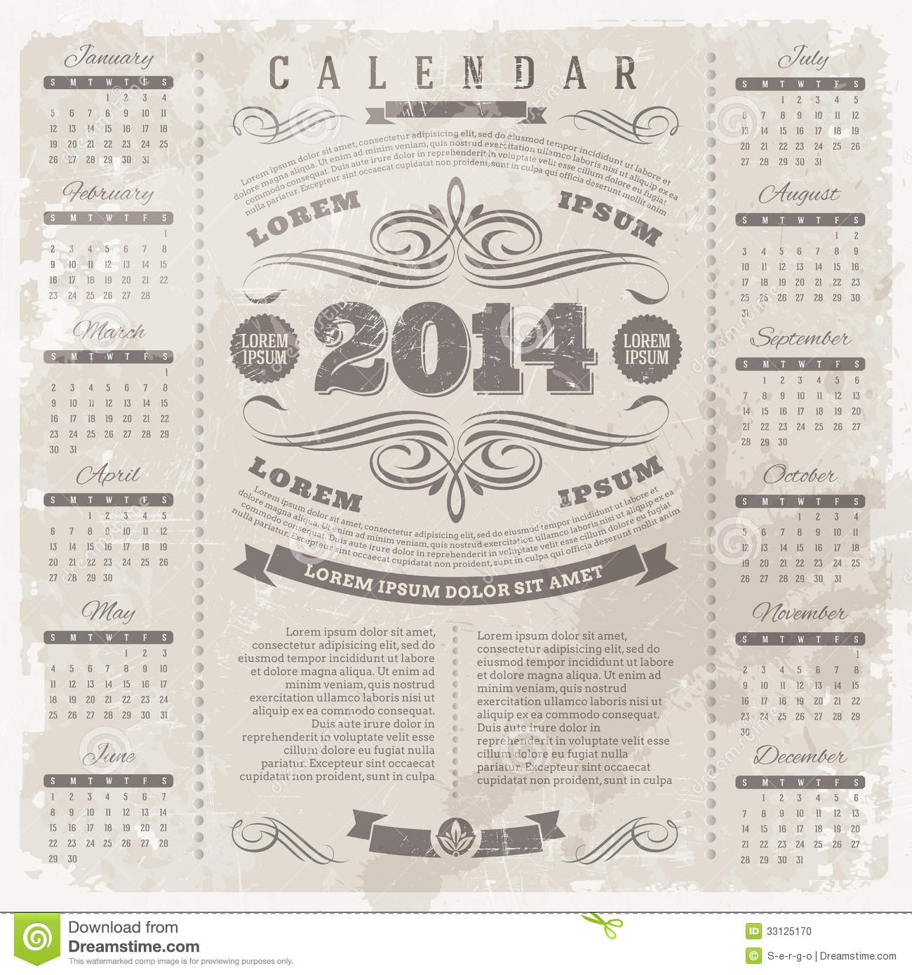 Vintage Calendar Template : Ornate vintage calendar of stock photo image