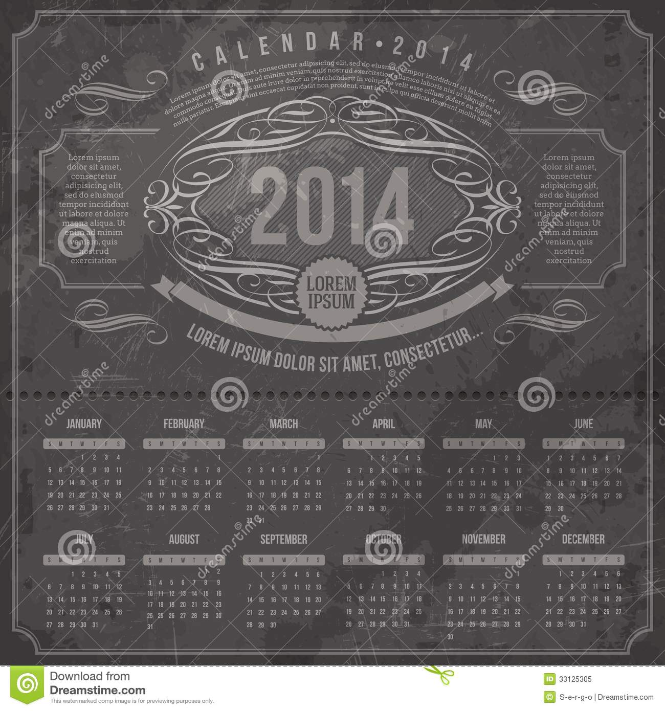 Vintage Calendar Template : Ornate vintage calendar of royalty free stock photo