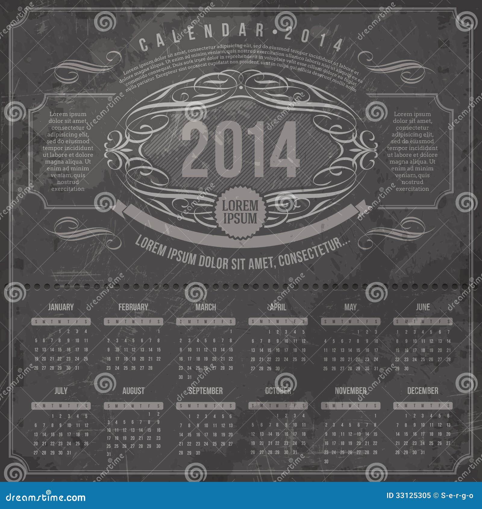 Vintage Calendar Template : Ornate vintage calendar of royalty free stock photo