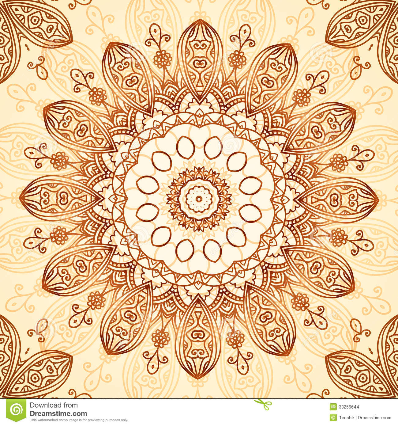 Ornate vintage vector background in mehndi style royalty free stock - Royalty Free Stock Photo Download Ornate Vintage Circle Pattern In Mehndi Style