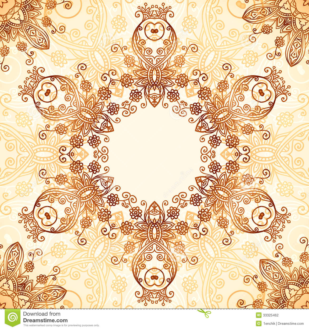 Mehndi Circle Vector : Ornate vintage circle pattern in mehndi style stock