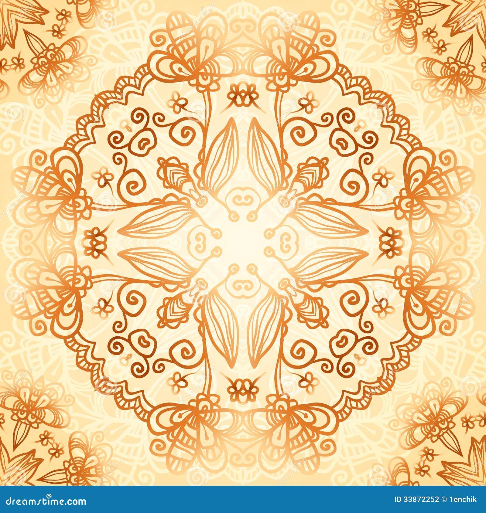 Ornate vintage vector background in mehndi style royalty free stock - Royalty Free Stock Photo Mehndi Pattern Style Vintage