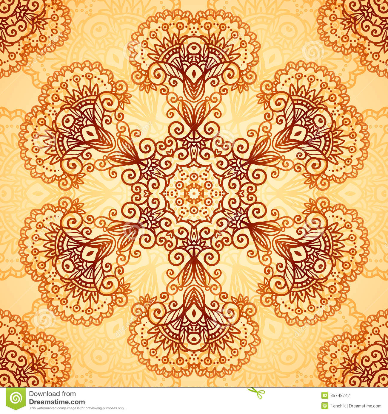 Mehndi Circle Vector : Ornate vintage circle pattern in mehndi style royalty free