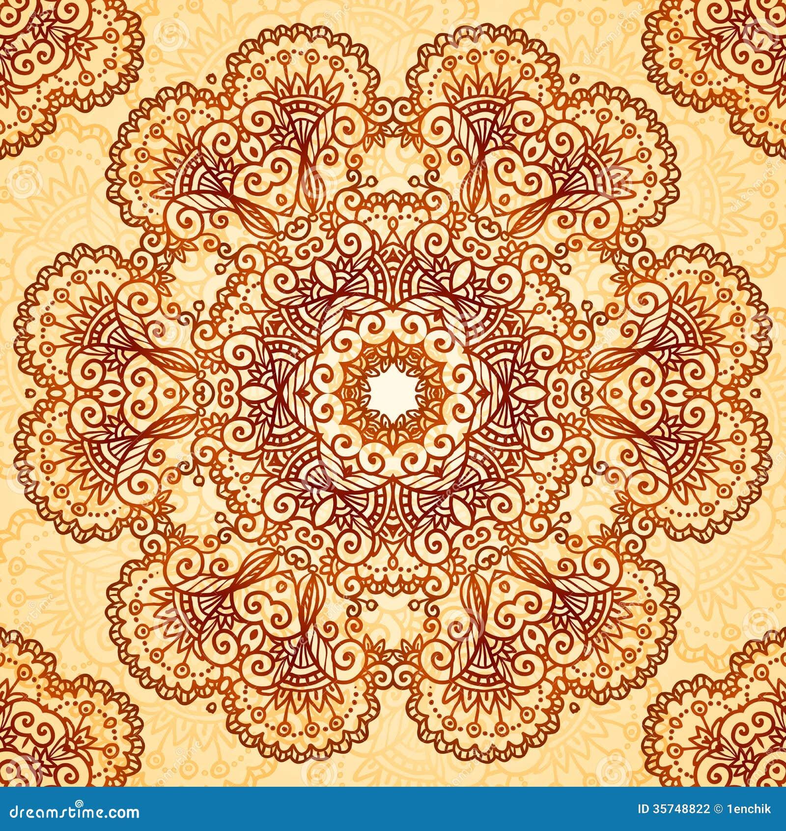 Ornate vintage vector background in mehndi style royalty free stock - Royalty Free Stock Photo Circle Mehndi Pattern Seamless Style Vintage