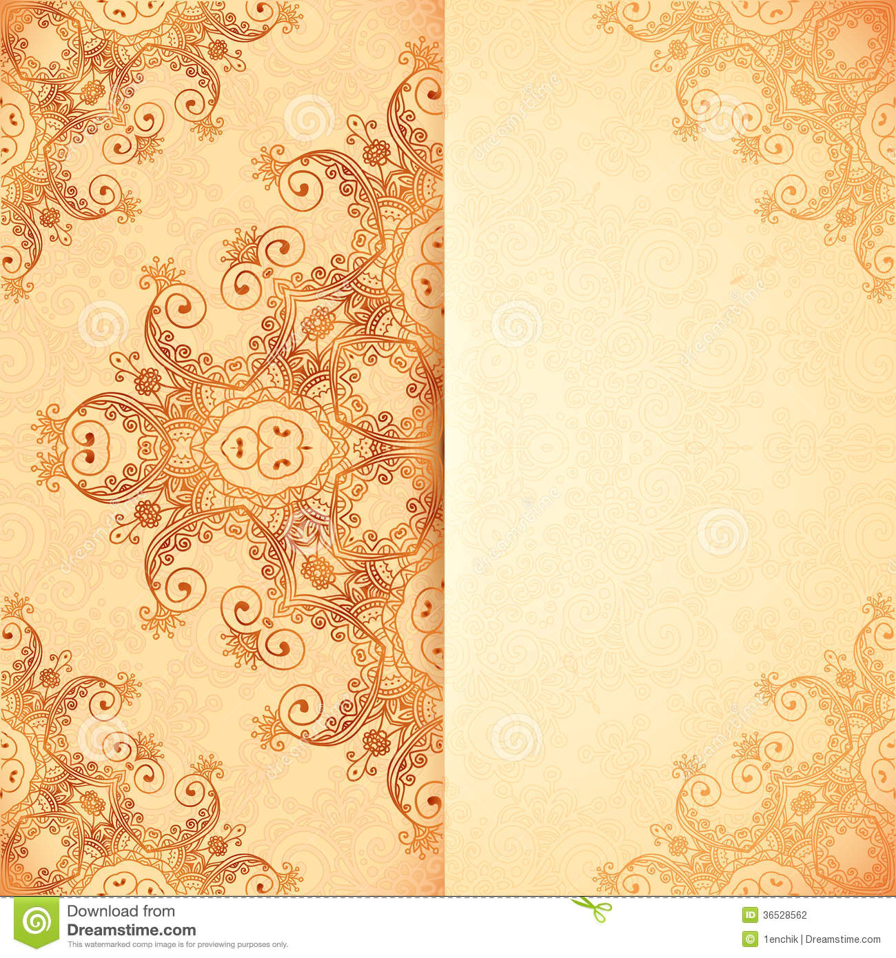 Ornate Vintage Template In Indian Mehndi Style