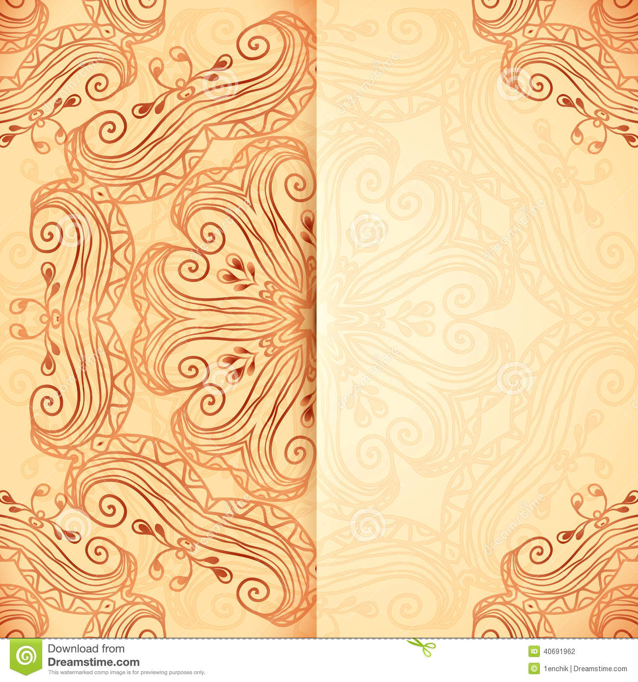 Ornate Vintage Template In Indian Mehndi Style Stock ...
