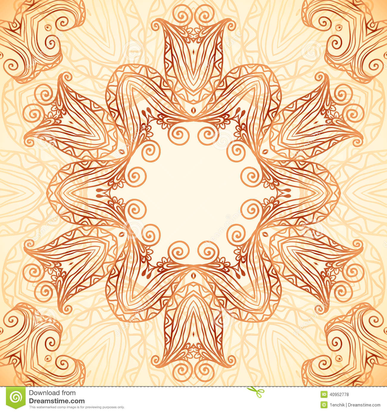 Ornate vintage vector background in mehndi style royalty free stock - Royalty Free Vector Download Ornate Vintage Template In Indian Mehndi Style Stock
