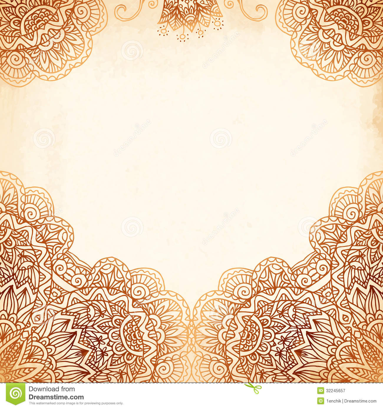Ornate Vintage Vector Background In Mehndi Style Stock