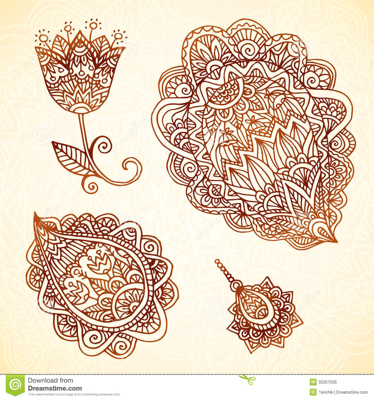 Ornate vintage vector elements in indian style royalty free stock