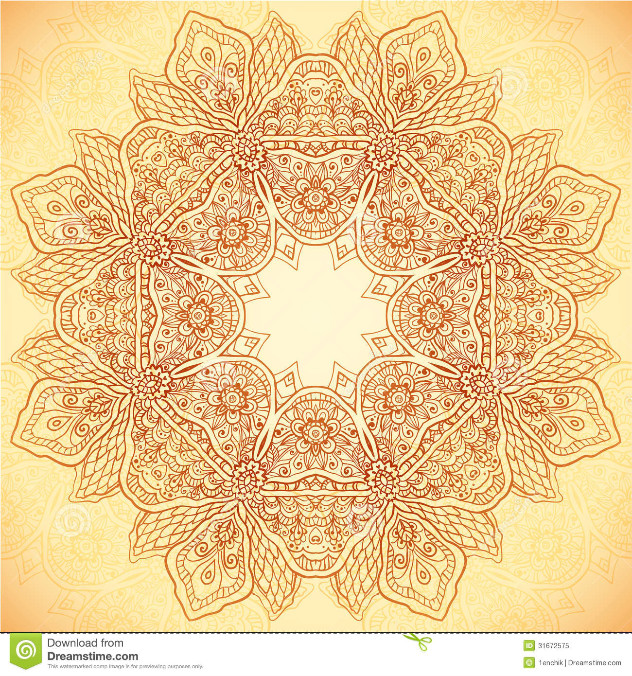 Ornate vintage vector background in mehndi style royalty free stock - Royalty Free Stock Photo Download Ornate Vintage Vector Flower Napkin Background