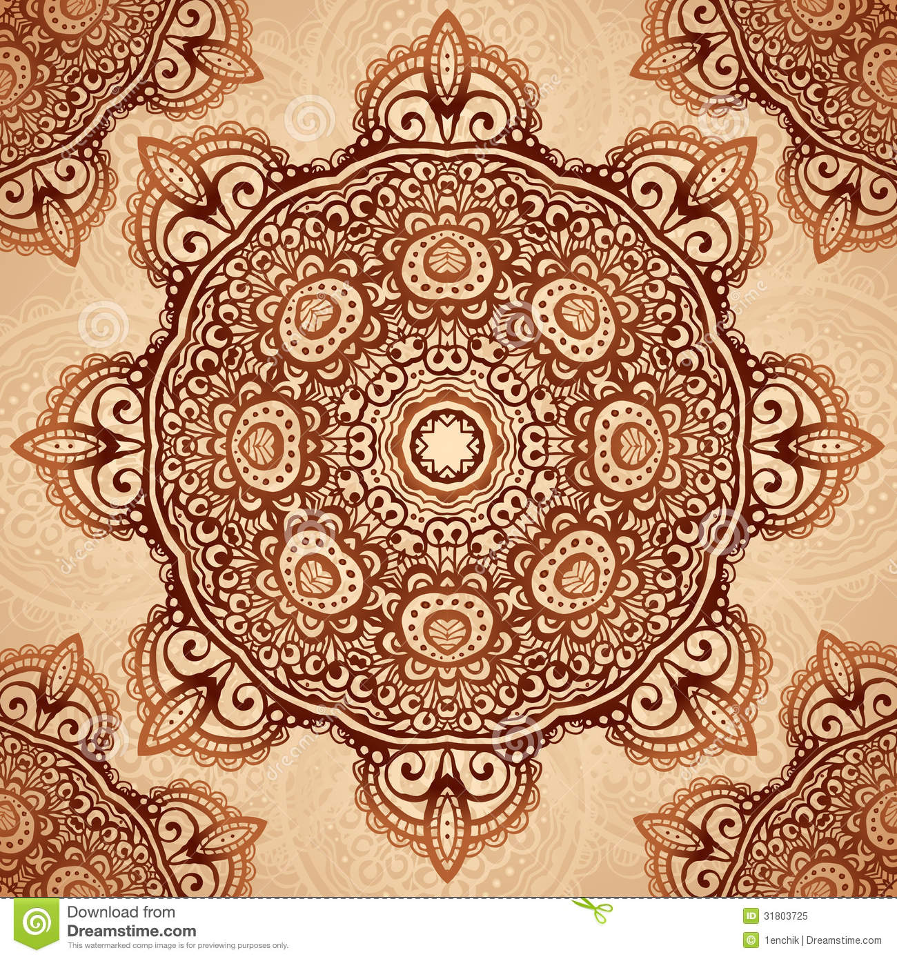Ornate vintage vector background in mehndi style royalty free stock - Royalty Free Stock Photo Background Indian Mehndi Napkin Ornate Style Vintage