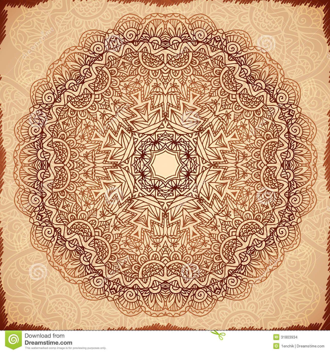 Ornate vintage vector background in mehndi style royalty free stock - Royalty Free Stock Photo Download Ornate Vintage Vector Napkin Background