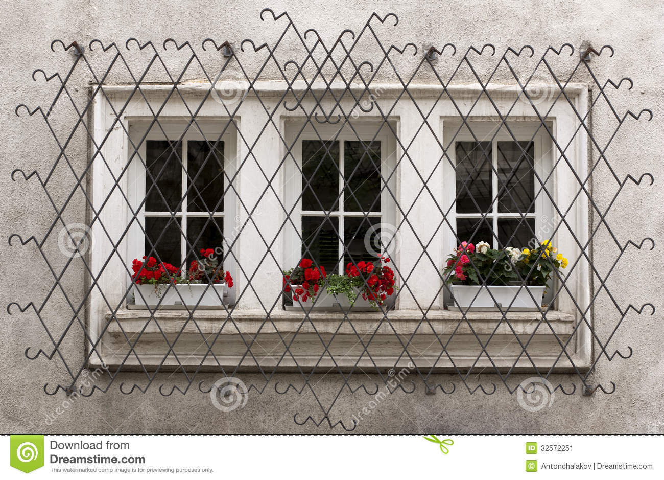 Ornate Window Security Bars Stock Image - Image of ...
