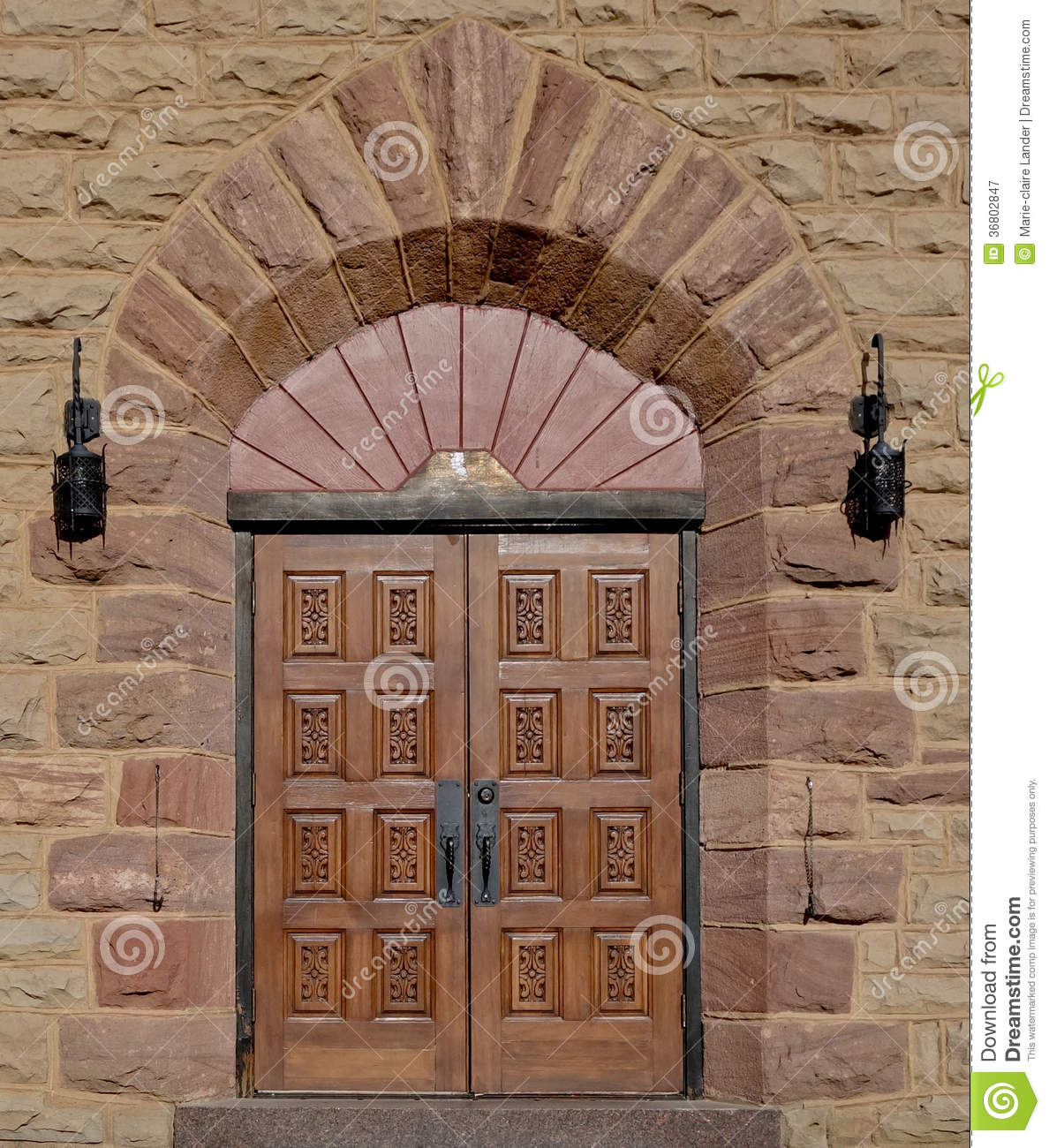 Royalty-Free Stock Photo & Ornate Wooden Church Door With Square Carved Panels. Stock Image ...