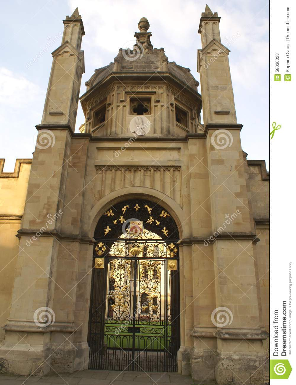 Ornate wrought iron gate and door royalty free stock image