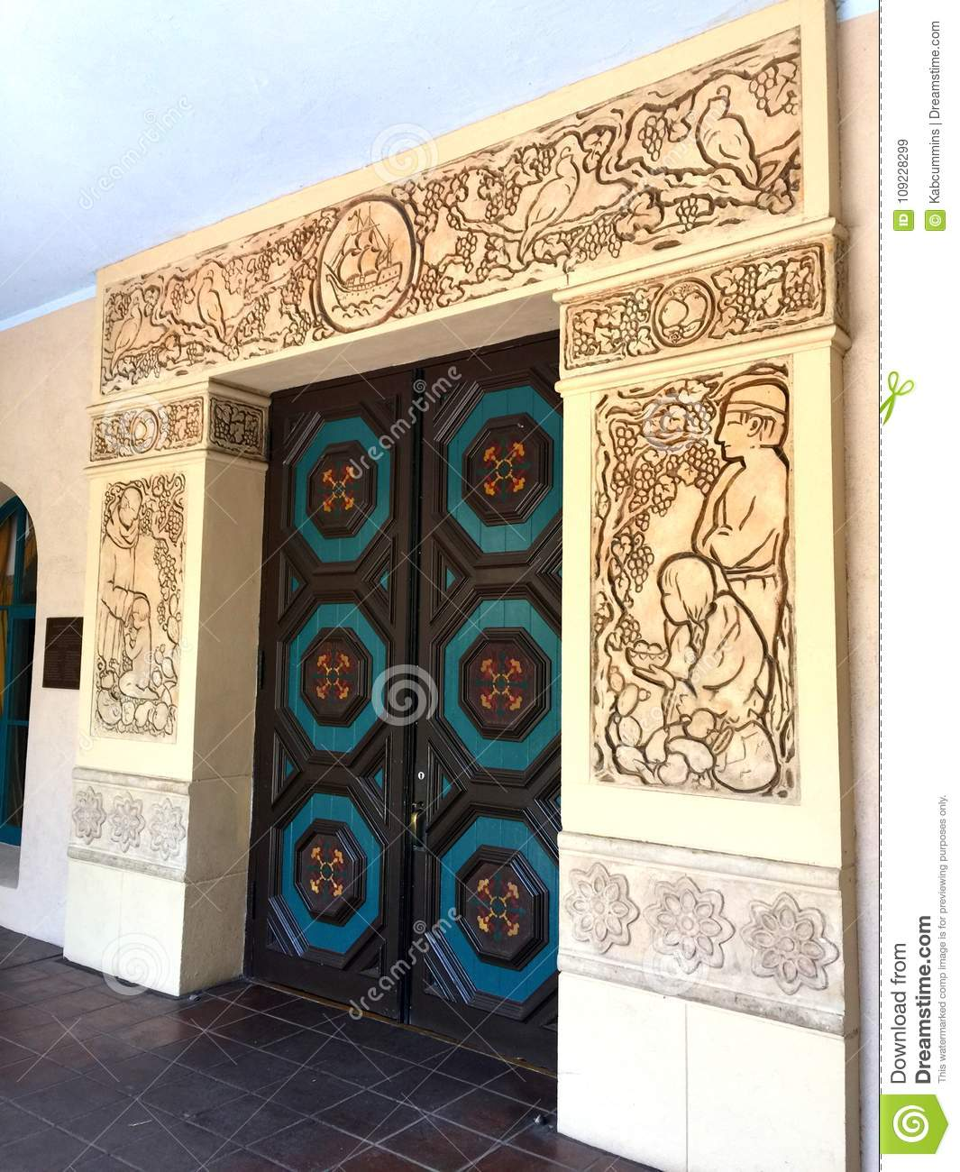 Ornately carved antique doors and door frame - Ornately Carved Antique Doors And Door Frame Stock Image - Image Of