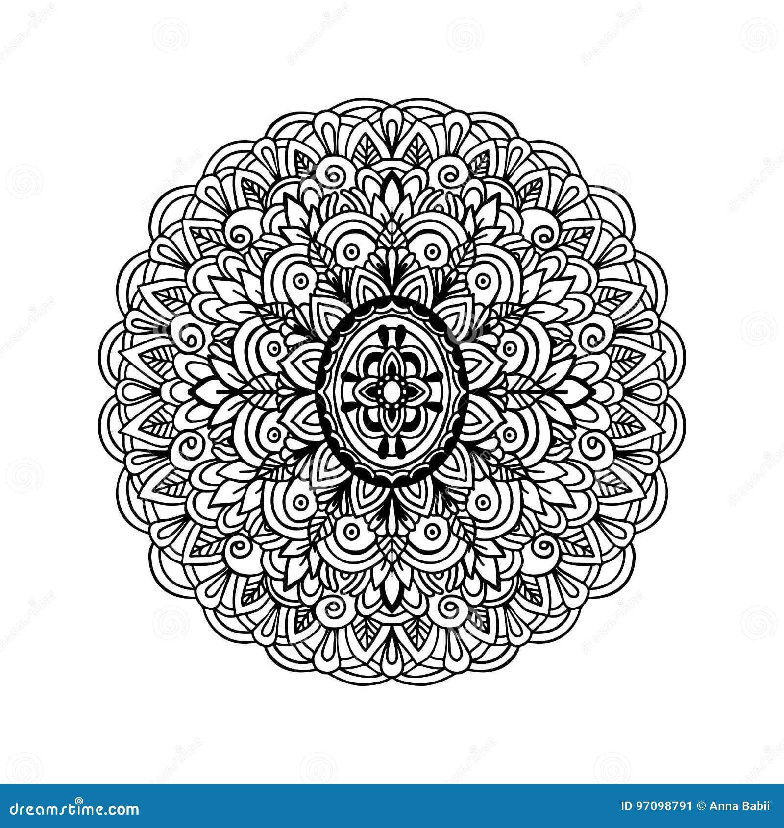 Coloriage Adulte Fond Noir.Ornement Abstrait De Mandala Pour Livres De Coloriage Adultes