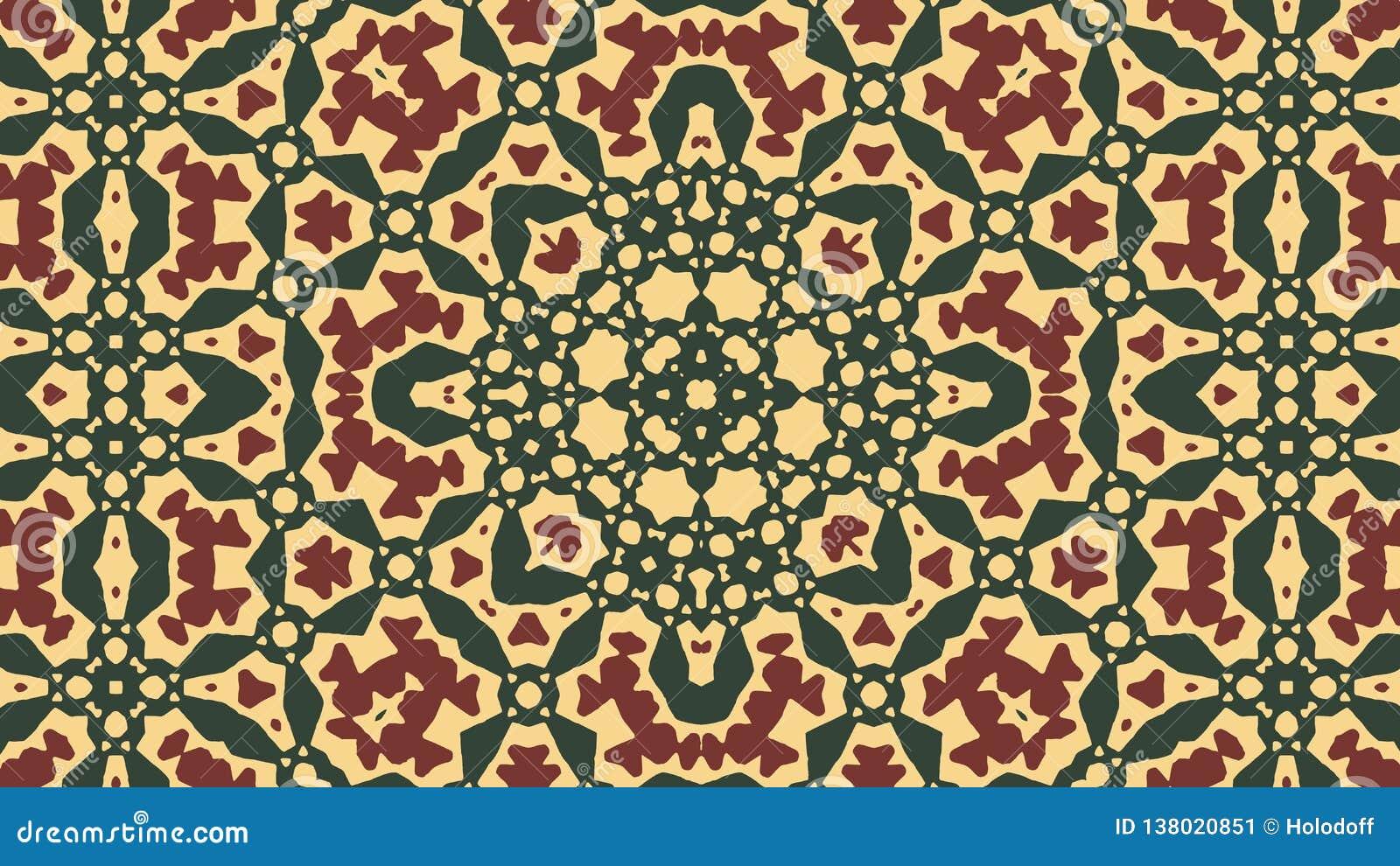 Ornement arabe - vert, filigrane rouge foncé, fond jaune