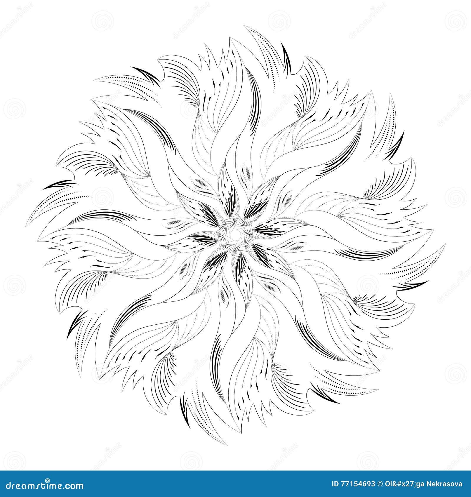 Ornement circulaire abstrait noir et blanc