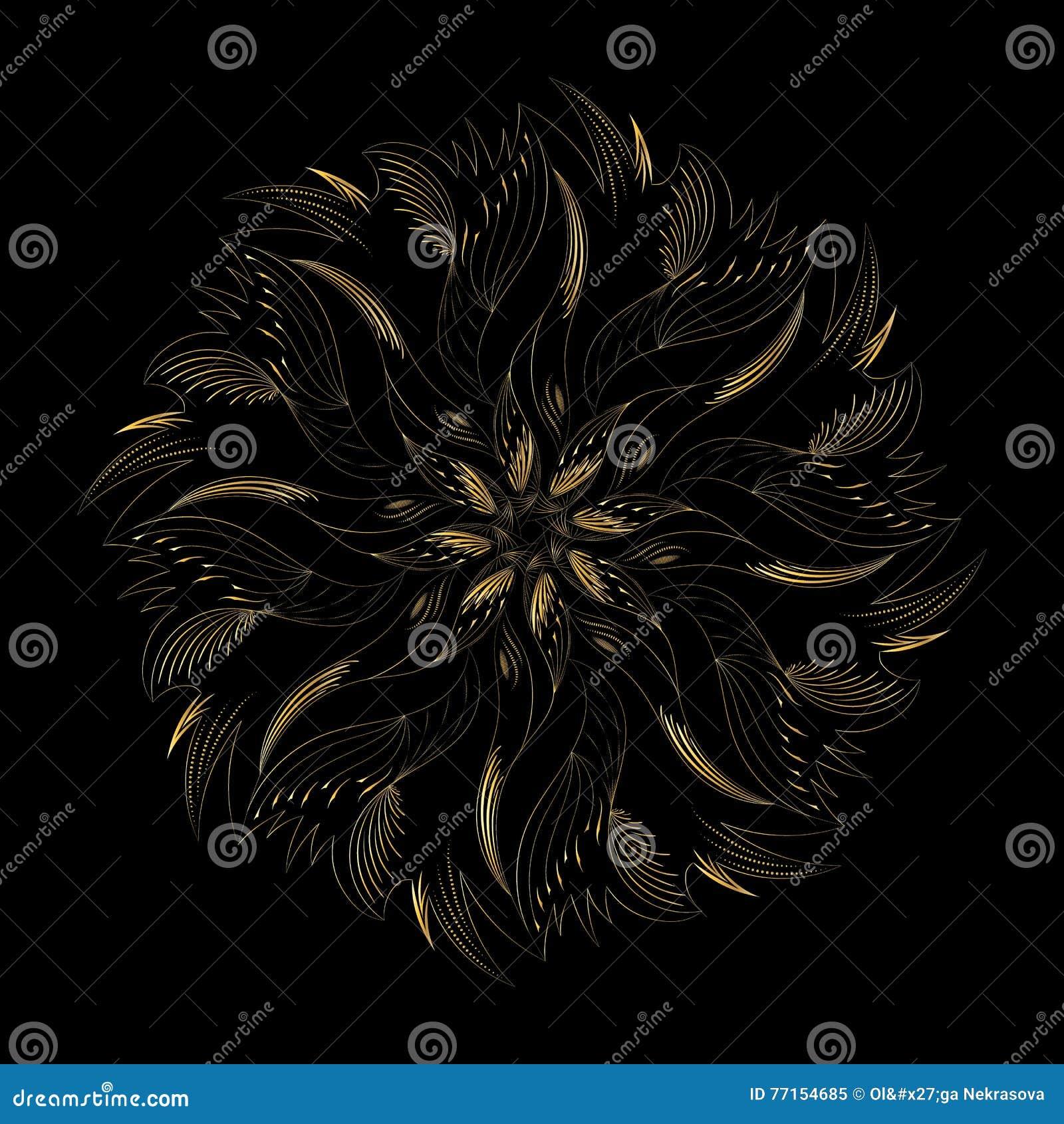 Ornement d or circulaire abstrait sur le noir