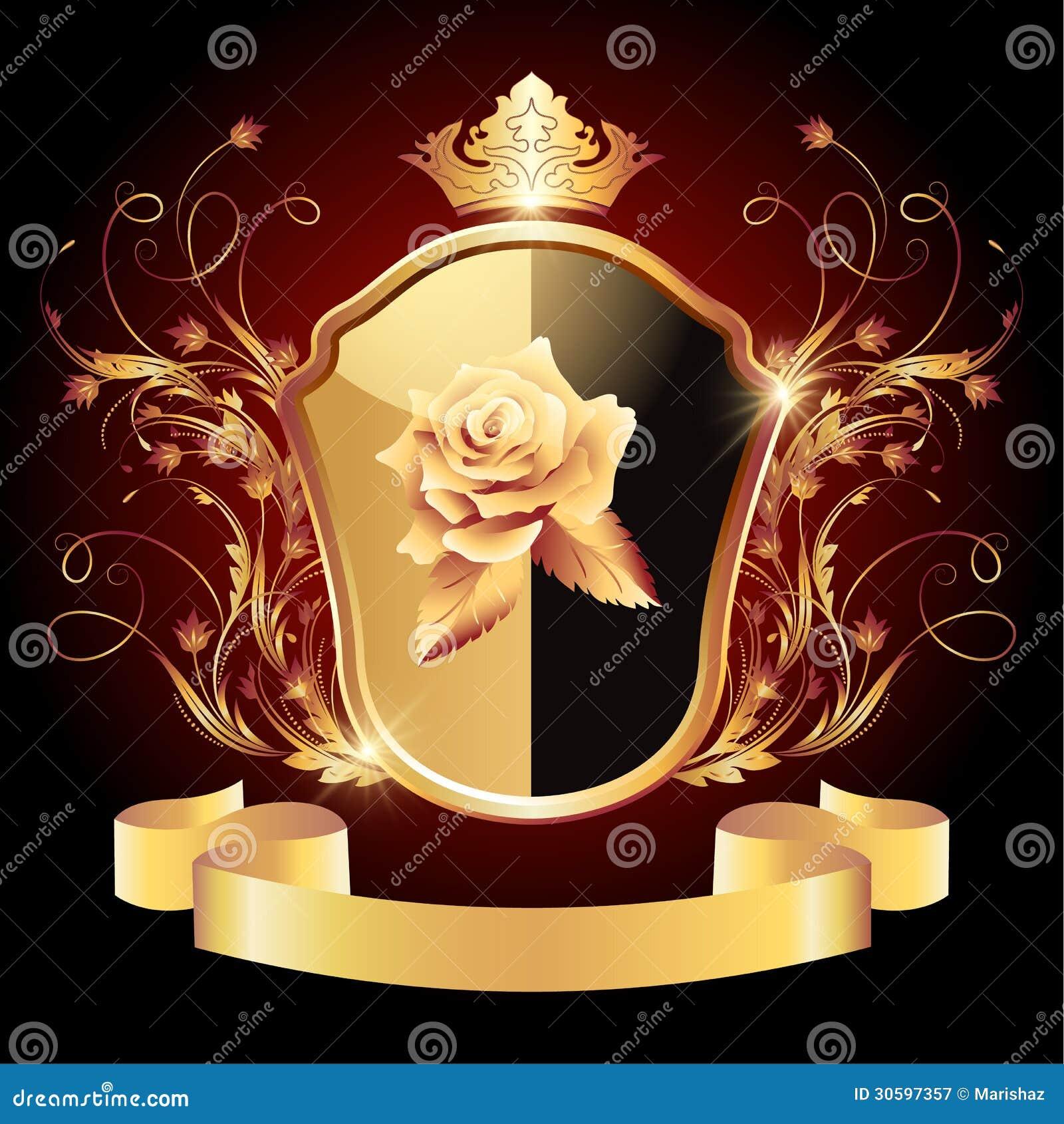Ornement d or fleuri de bouclier héraldique médiéval