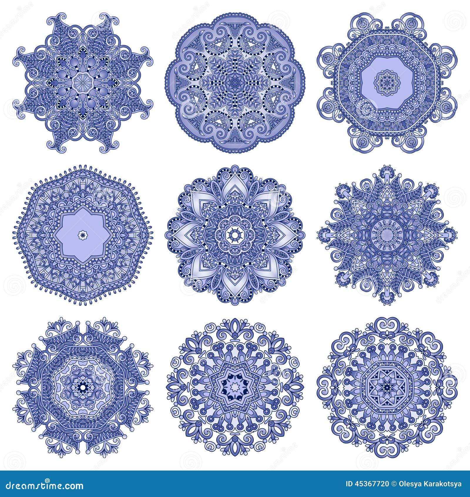 Ornement de dentelle de cercle, géométrique ornemental rond