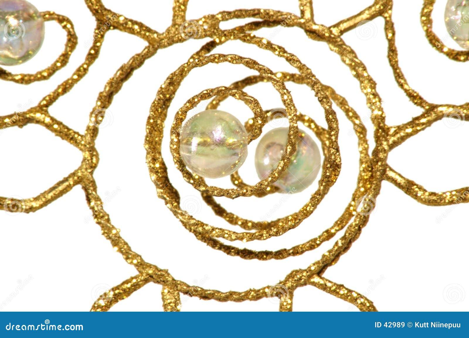Ornement de Noël - abstrait d or, sur le blanc