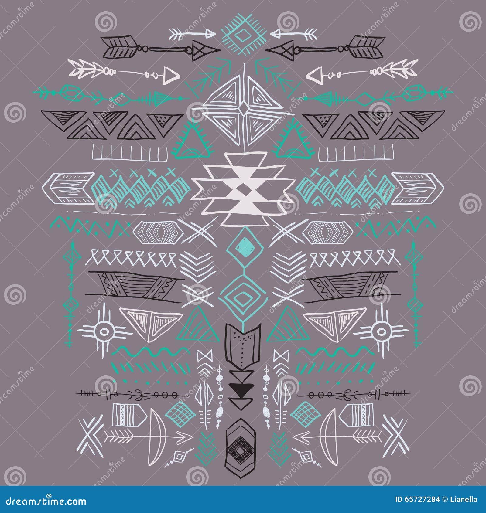 Ornement ethnique tribal de vecteur aztèque de Navajo