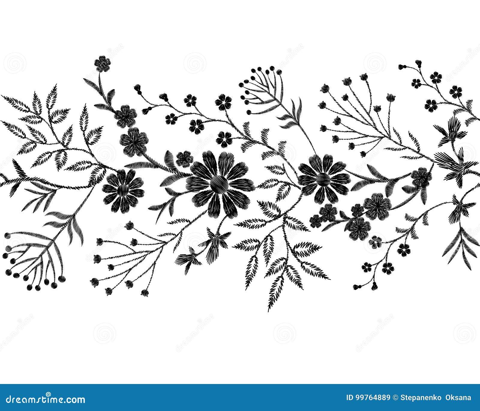 Ornement Floral Noir De Broderie Façonnez à Décoration De