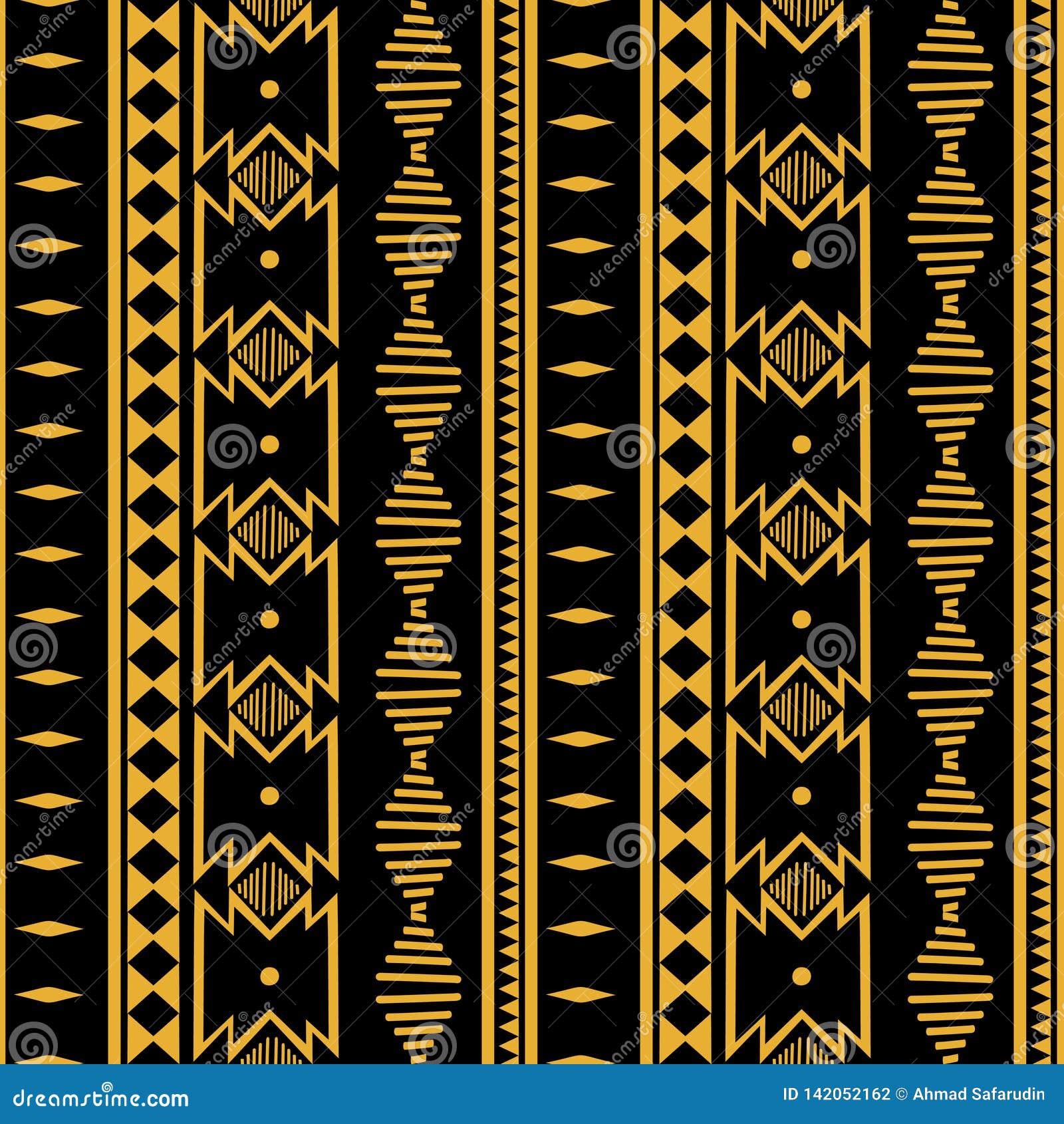 Ornement géométrique de batik de folklore d Ikat Texture ethnique tribale de vecteur Modèle rayé sans couture dans le style aztèq