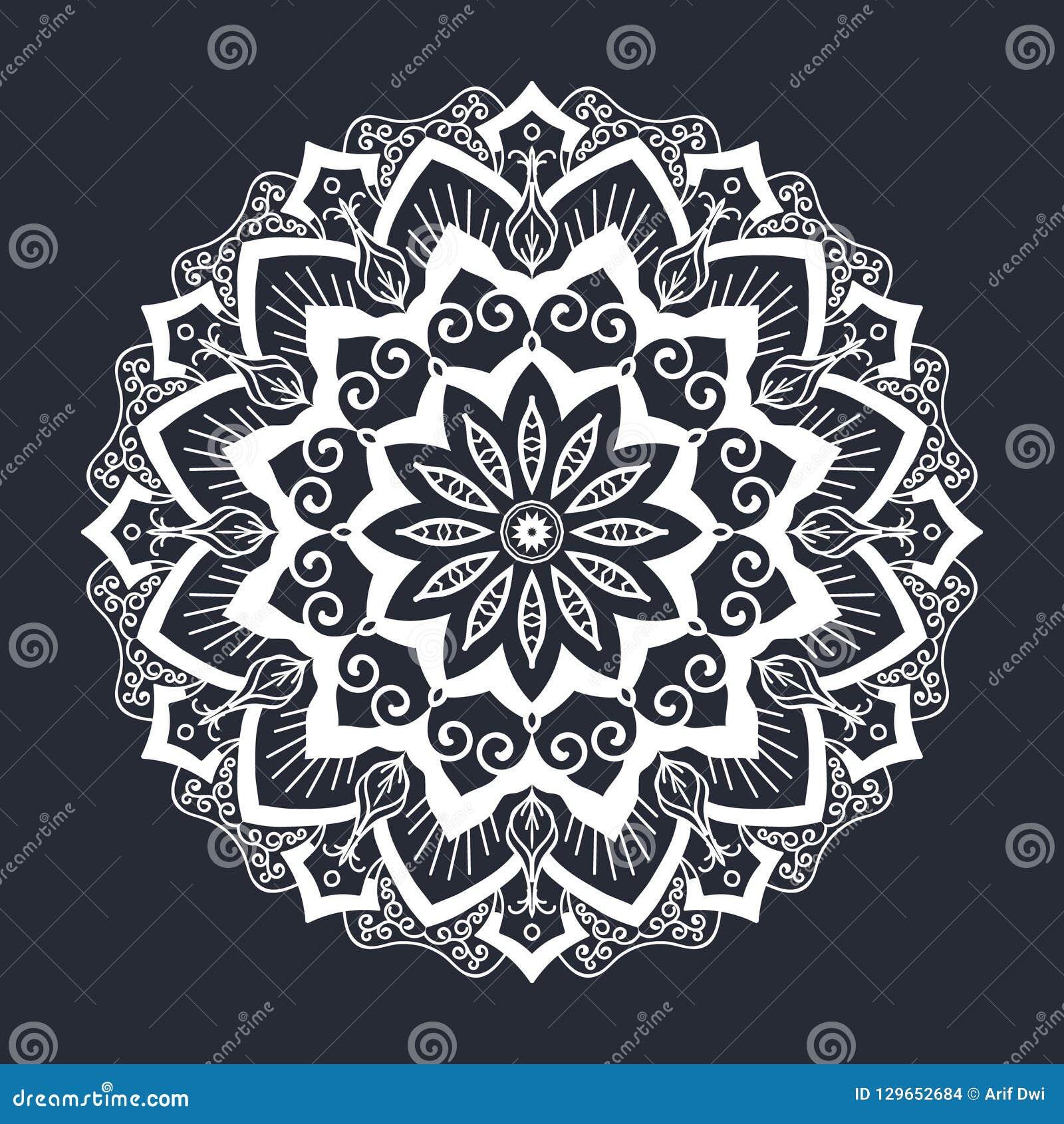 Ornement Noir Et Blanc De Modele De Mandala Illustration De Vecteur Illustration Du Mandala Modele 129652684