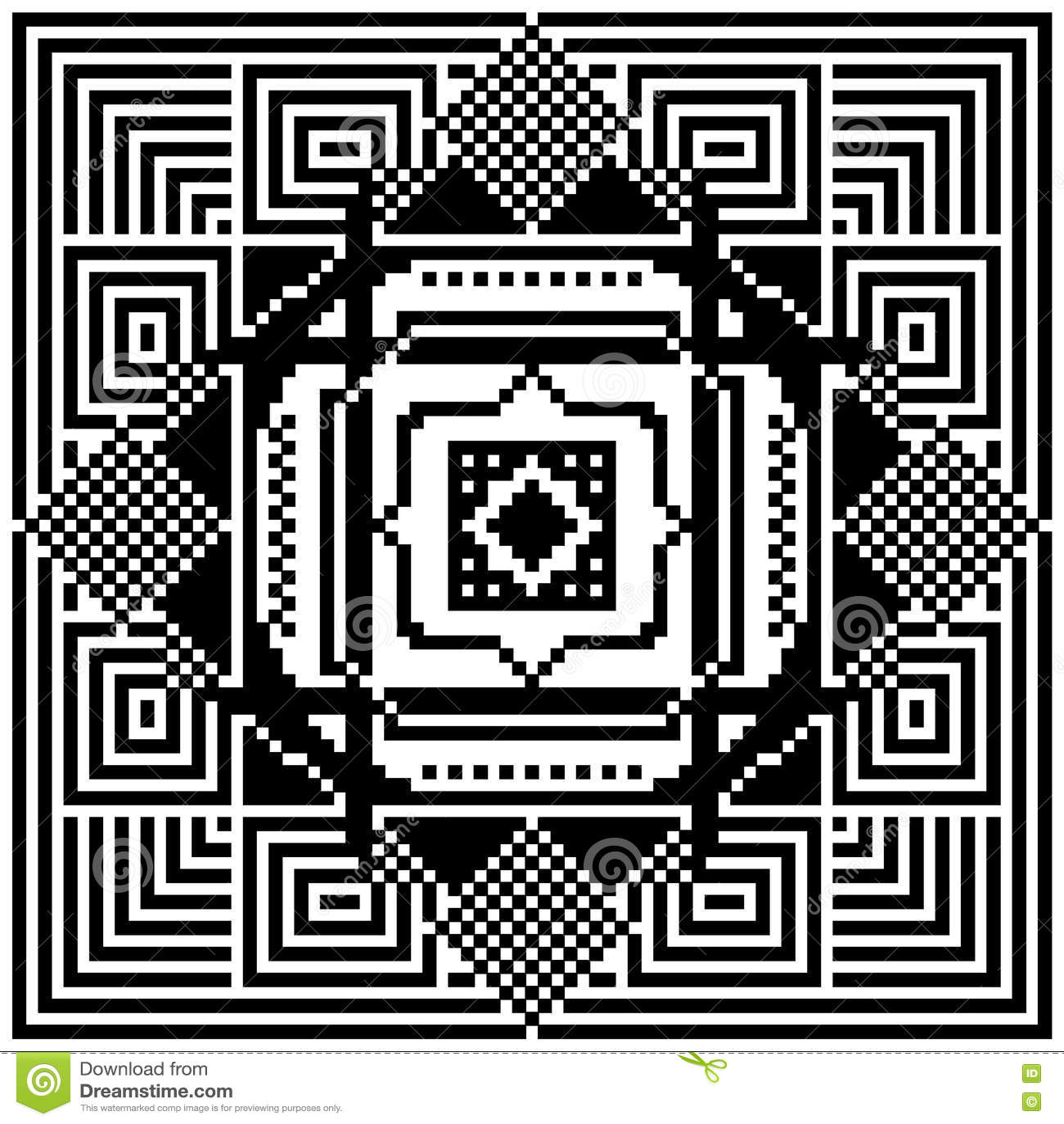 Ornement Noir Et Blanc Illustration D Art De Pixel Illustration De